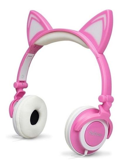 Headset Fone Orelha De Gato Led Cosplay Dobrável Hf-c22