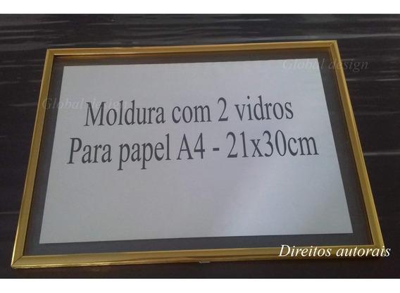 Kit 8 Molduras De Alumínio 2 Vidros Para Papel A4 Diploma...