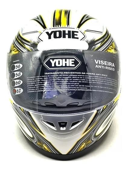 Capacete Moto Yohe Street Amarelo Tamanho 62 Promoção