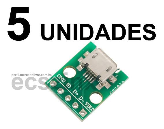 5pcs Modulos Adaptador Dip Solda Para Micro Usb