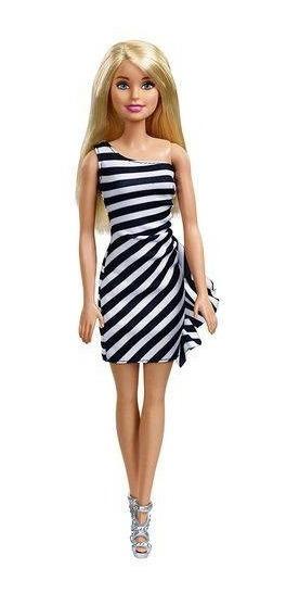 Boneca Barbie Fashion - Loira Vestido Listrado Preto Branco