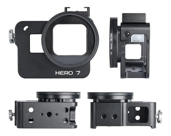 Case Proteção Frame Alumínio + Lente Uv - Gopro Hero 5 6 E 7