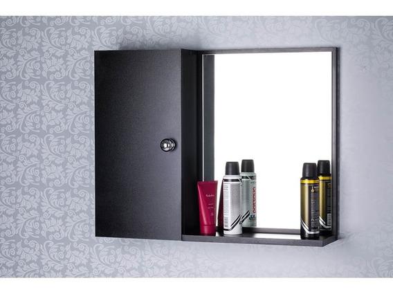Armário Com Espelho Para Banheiro Preto (já Vem Montado)