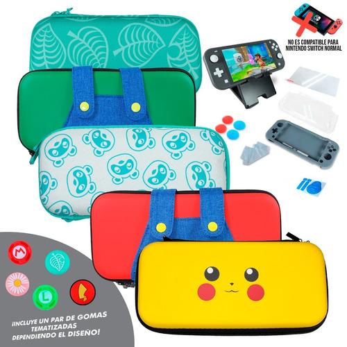 Imagen 1 de 9 de Kit Estuche Nintendo Switch Lite Protector Rigido Portatil