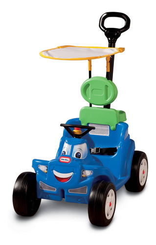 Imagen 1 de 7 de Carrito Plastico Paseador 2en1 P/ Niños +2 C/ Tapa Sol Azul