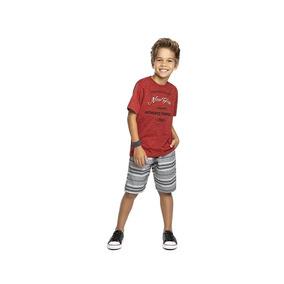 Conjunto Angero Camisa Malha E Bermuda Sarja Masculino