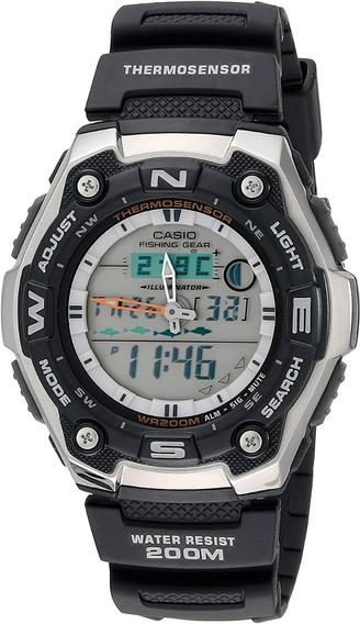 Relógio Casio Aqw 101- 1av Termômetro Pesca Fases Da Lua