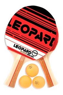 Set De Ping Pong 2 Paletas/3 Pelotas Leopard
