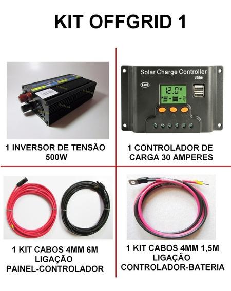 Kit Pacotão Offgrid Inversor 500w + Controlador 30a + Cabos