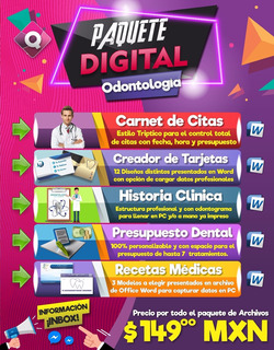 Odontología - Carnet De Citas, Recetas, Hist. Clínica, Tarje