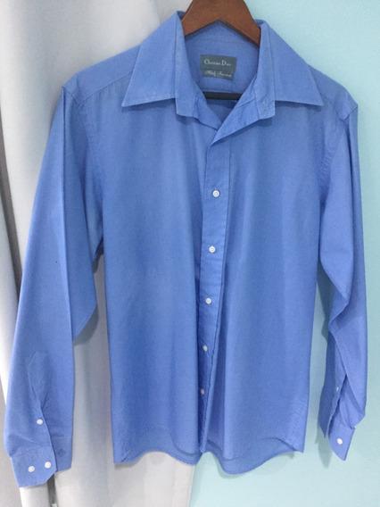 Dior Camisa Social Tamanho M Masculina Manga Longa Azul