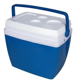 Caixa Térmica 34 Litros Azul Mor Com Alça Tampa Porta Latas