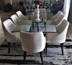 Mesa Sala De Jantar Sierra Moveis 8 Cadeiras Tampo De Vidro