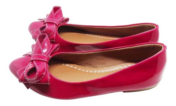 Sapatilha Feminina Verniz Laço Rosa/pink Direto Da Fabrica L