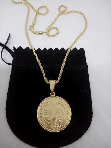 Corrente Cordão Com Medalha Do Santo São Bento Banhada