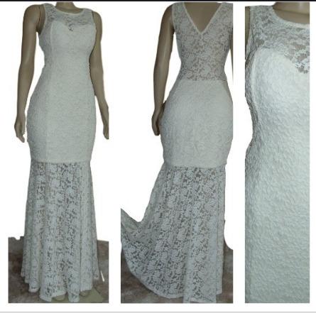 Vestido Branco Offwhit Casamento Civil Batizado Longo Rend