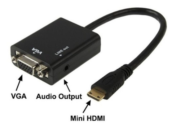 Cabo Adaptador Conversor Mini Hdmi Para Vga Com Áudio P2