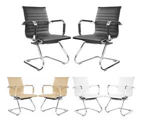 2 Cadeiras Escritório Interlocutor Executiva Fixa Couro Pu