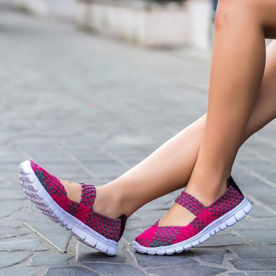 Tenis Tejido Calzado Verano Mujer Transpirable Elástico