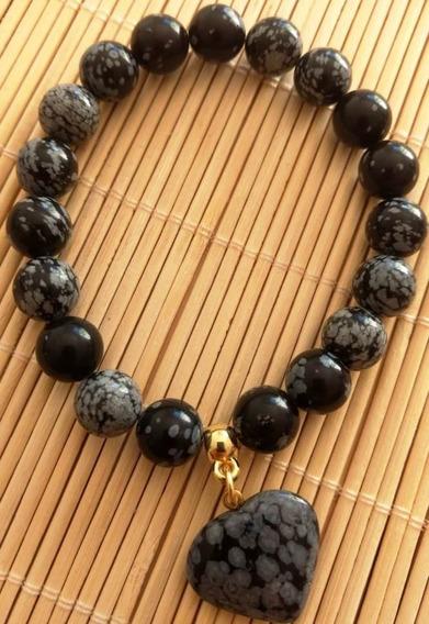 Pulseira De Obsidiana Floco De Neves Amuleto Protetor .
