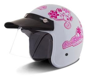 Capacete De Moto Feminino Branco Aberto Compact Girls