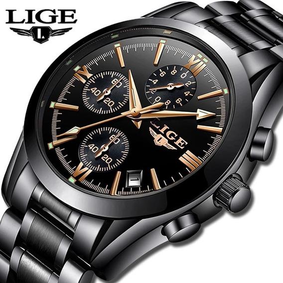 Relógio Unissex Lige Preto Aço Inoxidável Original Frete