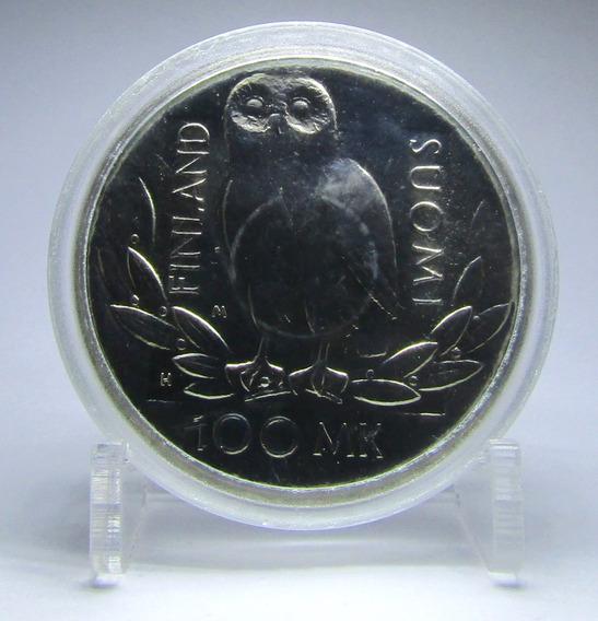 Moneda Finlandia 1990 100 Markkaa Plata 350 Aniv Universidad