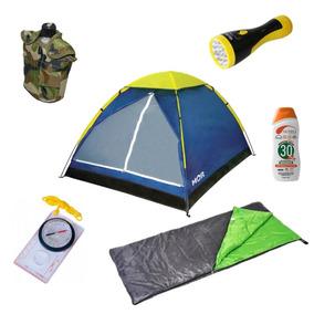 Kit Camping Barraca 3 Pessoas E Saco De Dormir E Cantil