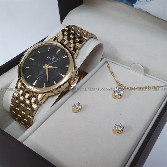 Relógio Champion Feminino Original Garantia Nfe Cn20515k Kit