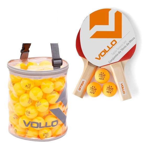 Kit Tênis De Mesa Vollo 2 Raquetes + 100 Bolas Table Tennis
