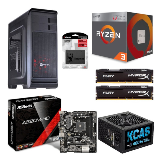 Pc Hunter Ryzen R3 2200g A320m Hd Hx 16gb Kc400 Ssd 120gb