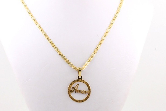 Corrente De Ouro 18k -colar Piastrine Grosso E Pingente Amor