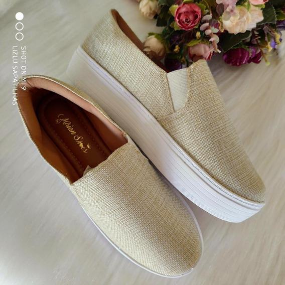 Tenis Slip On Feminino Bege Sola Alta Mirian Shoes