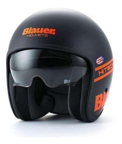 Casco Abierto Blauer Pilot 1.1 Negro Mate/naranja Importado