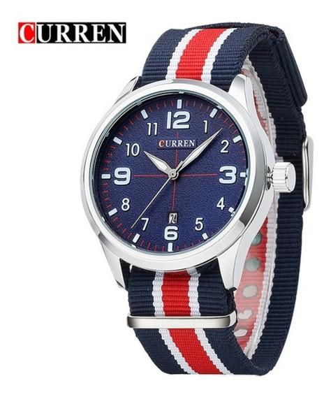 Relógio Masculino Curren Esportivo Militar De Luxo Modelo 8195 + Estojo Curren Frete Grátis