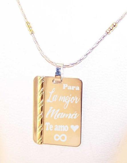 Medalla Plata 925 Y Oro Grabada Frase Iniciales Cadena Mujer
