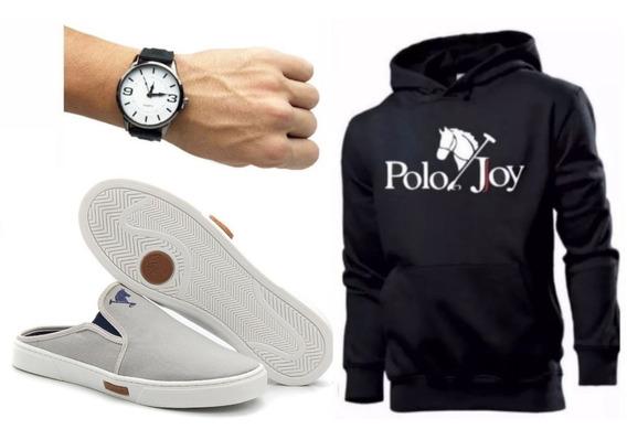 Tênis Masculino Babuche Mule Polo Joy C/ Moletom + Relógio
