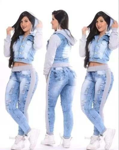 4 Conjuntos Calça Jeans+jaqueta Jeans Com Moletom