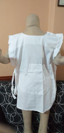 Guardapolvo Blanco Para Niñas Modelo Pechera