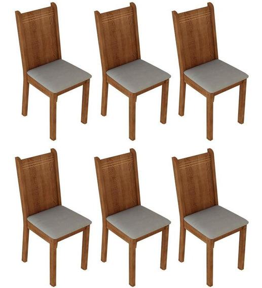 Conjunto 6 Cadeiras Em Mdf Revestimento Em Tecido - Madesa 4290