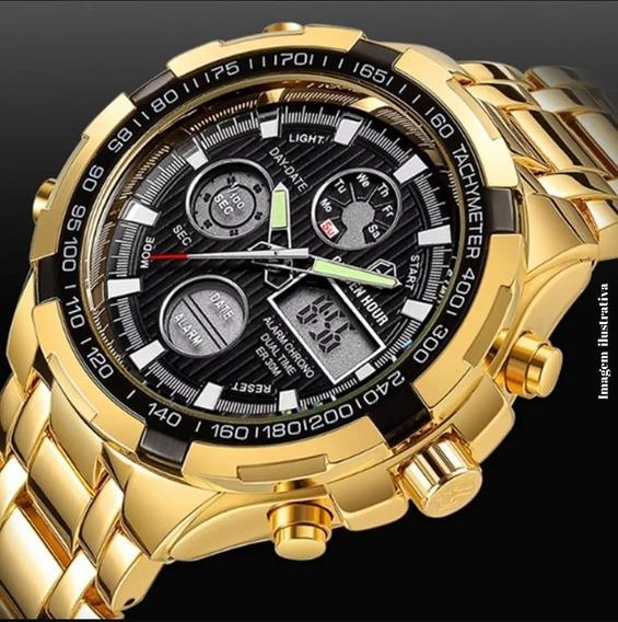 Relógio Golden Hour Dourado Digital Analógico De Luxo