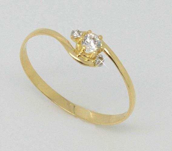 Anel Tipo Solitario Maciço Ouro 18k 750 Jsp1722