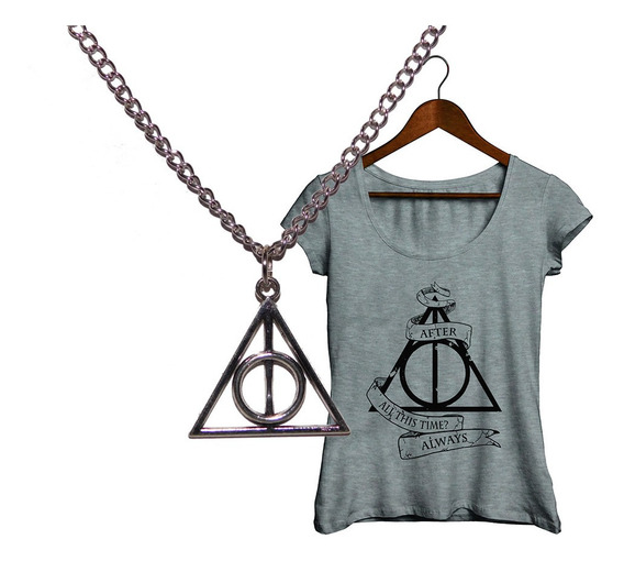 Pack Harry Potter Collar Reliquias De La Muerte + Remera