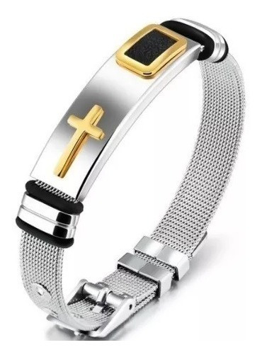 Bracelete Pulseira Masculina Cruz Crucifixo Lançamento