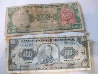 Billetes Antiguos Lote Fuera Circulación Ecuador 1988 Y 92
