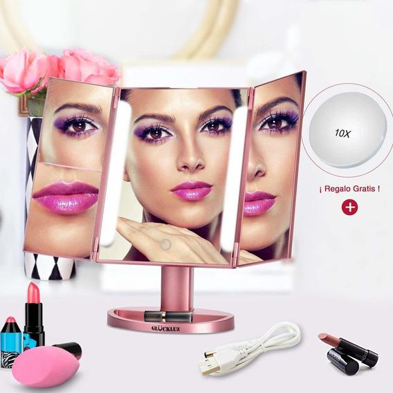 Espejo De Maquillaje De Mesa 22led Makeup Usb Glückluz Rosa