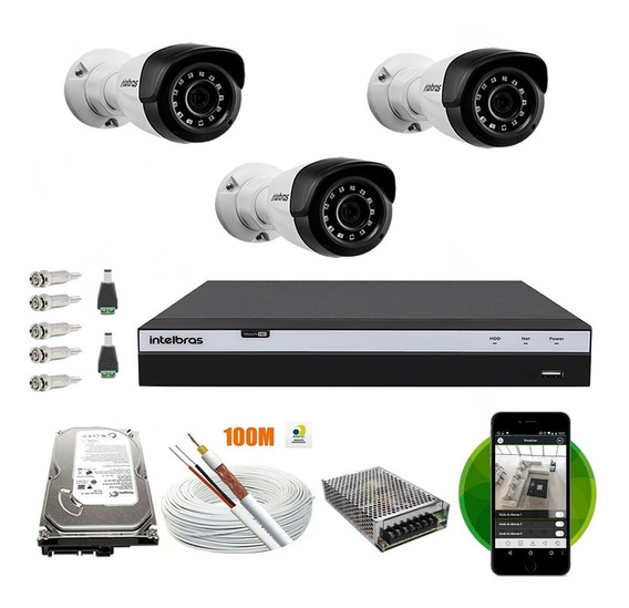 Kit Cftv 3 Câmeras Intelbras 1220b Full Hd Dvr 4 Canais 3104