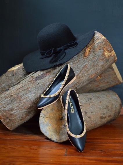 Flats Estilo Valentino Negro/beige