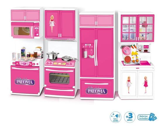 Juego Cocina Completa Para Muñeca Barbie El Mundo De Paloma
