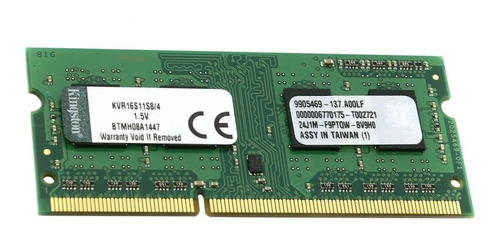 Memória RAM ValueRAM color Verde  4GB 1x4GB Kingston KVR16S11S8/4